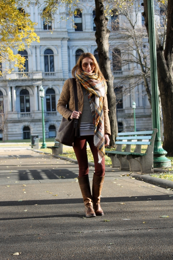 Coated Burgundy Denim + Plaid Scarf