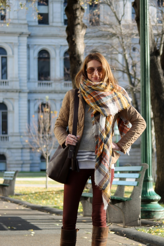 Coated Burgundy Denim / Plaid Scarf  / Riding Boots