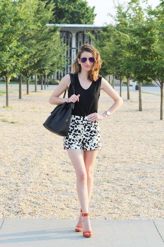 {Printed Shorts + Tangerine Heels} | Plum Pearls