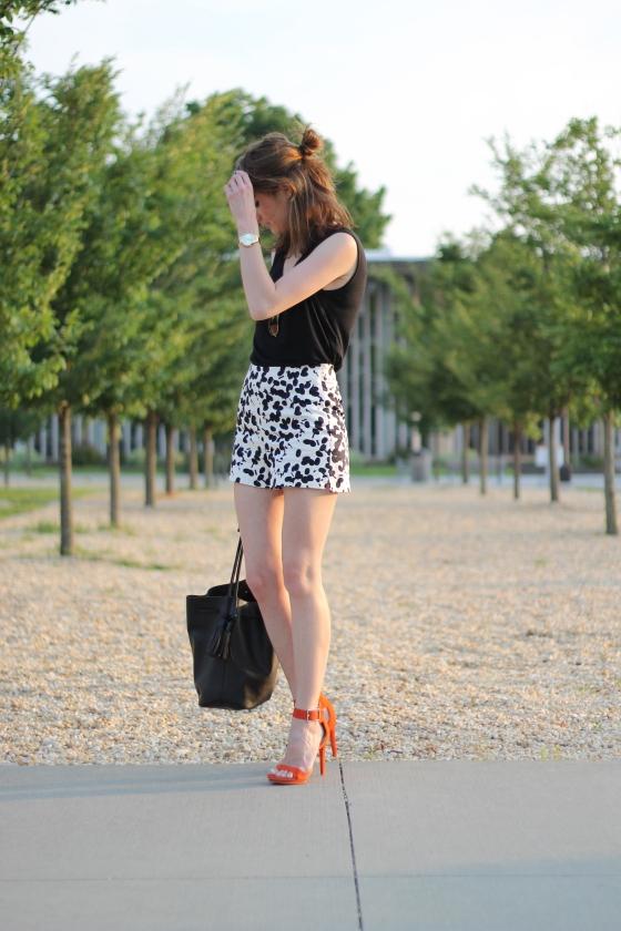 {Printed Shorts + Pop of Tangerine}