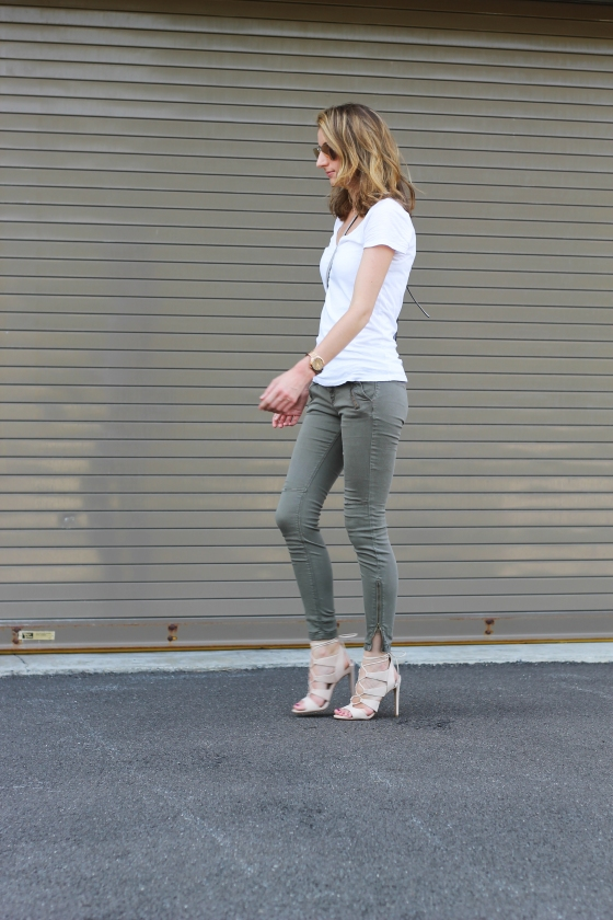 Sage Green Pants + Blush Lace-Up Sandals