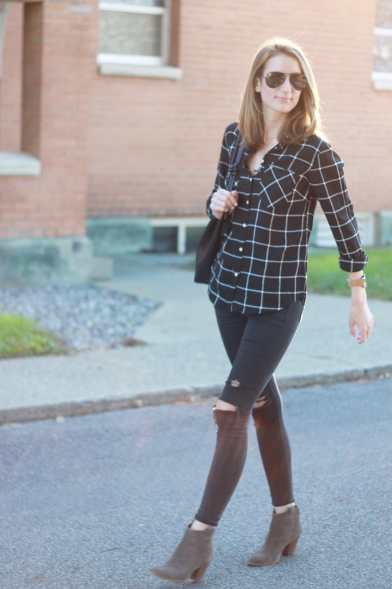 {Plaid + Distressed Denim} | Plum Pearls